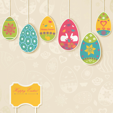 easter background: Easter background with hanging on the ropes patterned eggs
