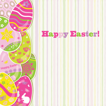 Easter background with colored paper eggs and stripes Vector