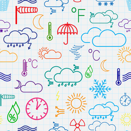 Seamless pattern of multicolored weather symbols on checkered background Vector