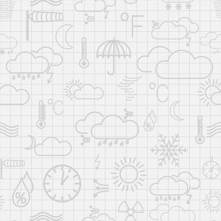Seamless pattern of gray weather symbols on white checkered background Vector