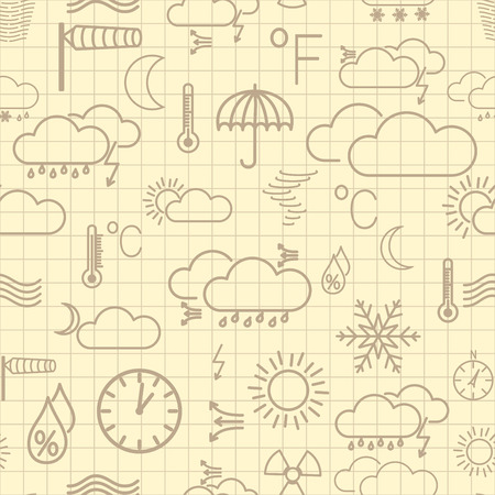 Seamless pattern of brown weather symbols on yellow checkered background Vector