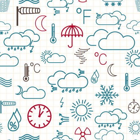 Seamless pattern of multicolored weather symbols on white checkered background Vector