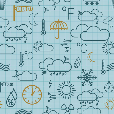Seamless pattern of weather symbols on light blue checkered background Vector