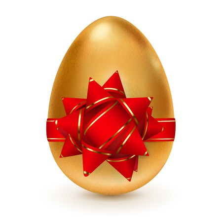 Realistic golden egg tied a red ribbon with golden stripes and a bow Vector