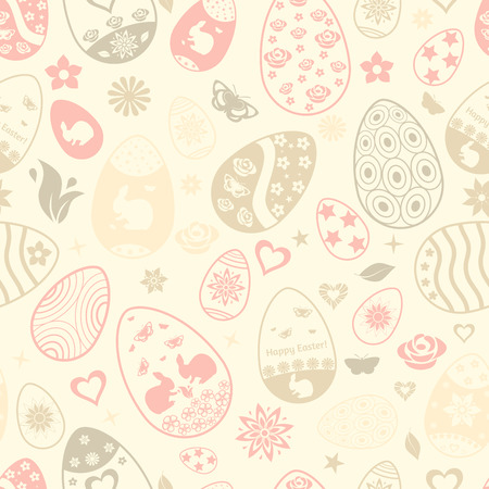 Multicolored seamless pattern of Easter eggs with ornaments Vector