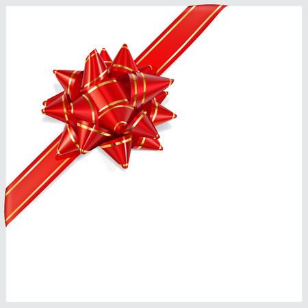 diagonally: Bow of red ribbon with gold stripes with shadow on white background  Located diagonally