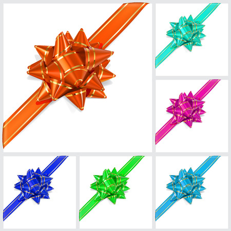 green bow: Set of bows of multicolored ribbons with gold stripes with shadow on white background  Located diagonally