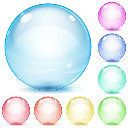 Set van veelkleurige glazen bollen met schaduwen op witte achtergrond Stock Illustratie