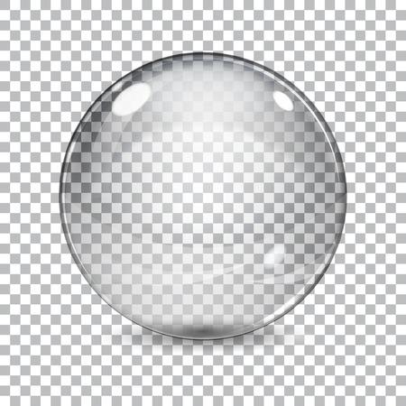 格子縞の背景の影と透明なガラス球  イラスト・ベクター素材