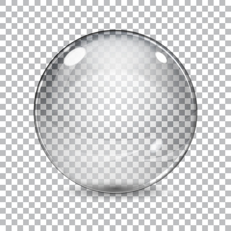 Transparent glass sphere with shadow on a plaid background