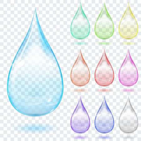Set of multicolored transparent drops with shadows on a plaid background Ilustração