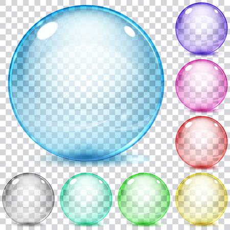 colorful beads: Set of multicolored transparent glass spheres on a plaid background