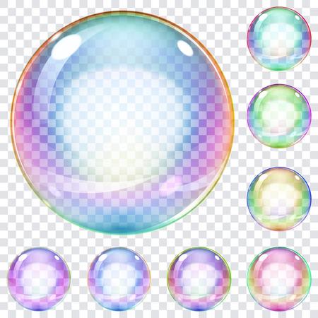 burbujas de jabon: Conjunto de multicolores pompas de jabón transparentes sobre un fondo a cuadros Vectores