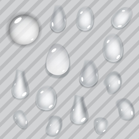 Set of transparent drops of different forms on striped background