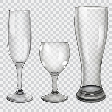 glass reflection: Three transparent glass goblets for wine, champagne and beer. On checkered background.