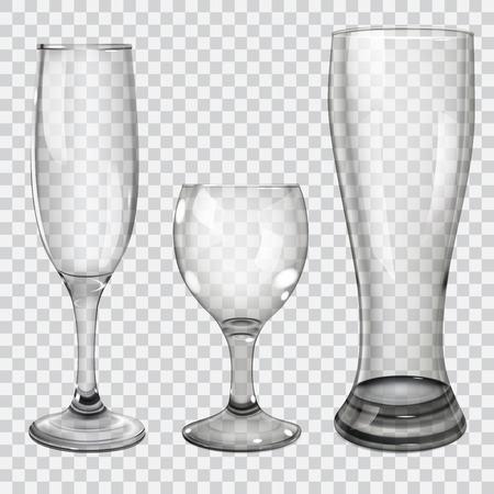 vidro: Três taças de vidro transparente para vinho, champagne e cerveja. No fundo quadriculado.