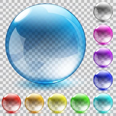 Set of ten multicolored transparent glass spheres with shadowson checkered background Ilustração