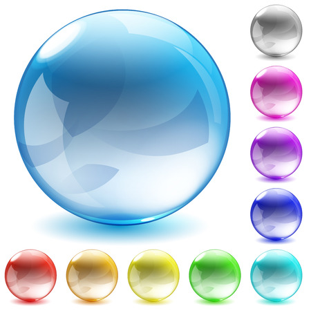 Set of ten multicolored glass spheres with shadows on white background Vector