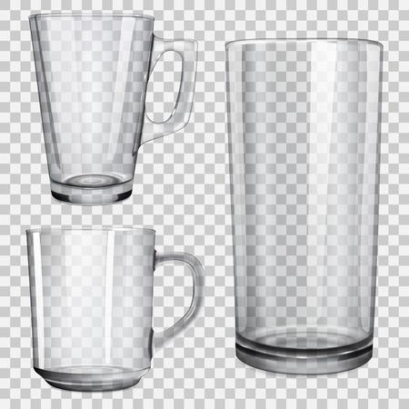 material de vidrio: Dos tazas de cristal transparente y un vaso de jugo. En el fondo a cuadros.