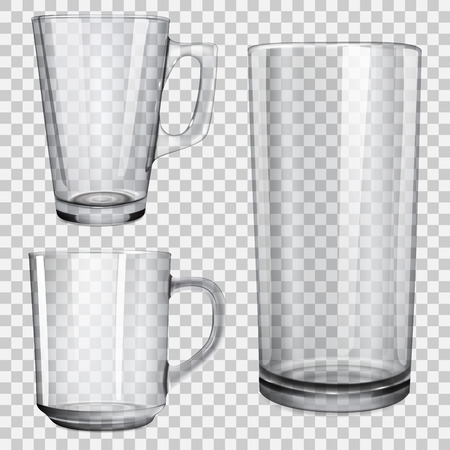 Two transparent glass cups and one glass for juice. On checkered background. Vector
