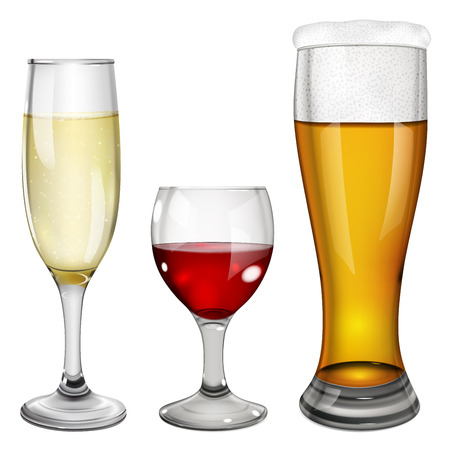 Three glass goblets with wine, champagne and beer. On white background. Ilustração