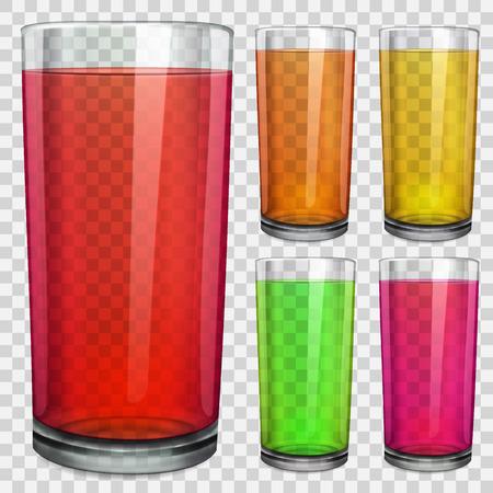 apple juice: Set of transparent glasses with transparent colored juice. On checkered background. Illustration