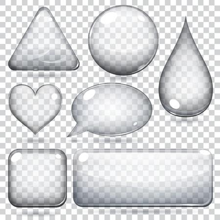 투명 유리 모양 또는 버튼 다양한 형태의