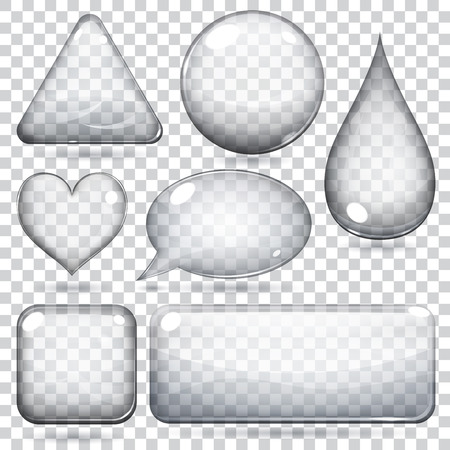 rectangle button: Transparent glass shapes or buttons various forms