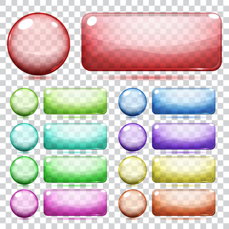Transparent glass round and rectangle buttons various colors