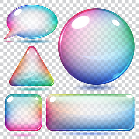 Transparent multicolor glass shapes or buttons various forms Illustration
