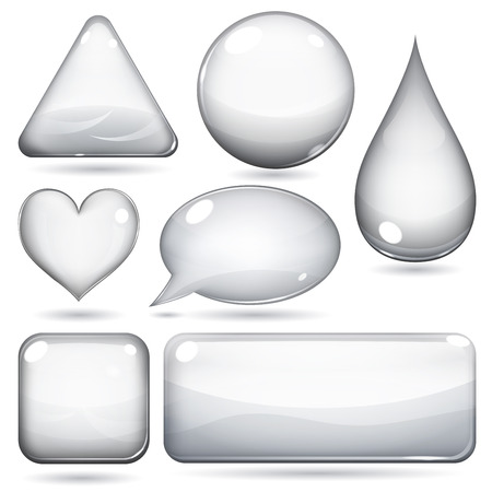 Glass shapes or buttons various forms on white background