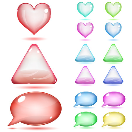 Glass hearts, triangles and speech bubbles of various colors on white background Vector