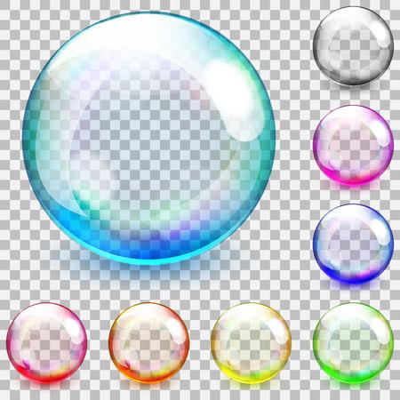 pompas de jabon: Conjunto de esferas de vidrio transparentes multicolores sobre un fondo a cuadros