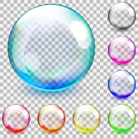 3d rainbow: Set of multicolored transparent glass spheres on a plaid background
