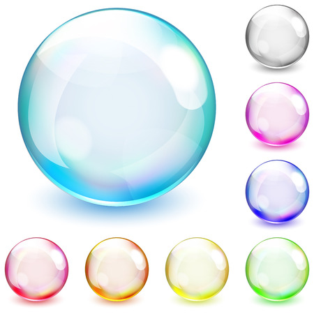 opaque: Set of multicolored opaque spheres on white background