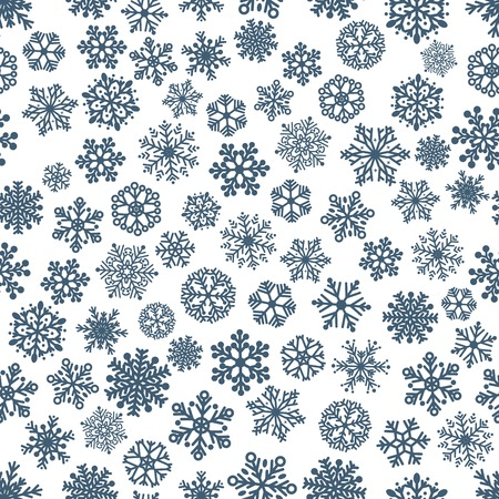 Christmas seamless pattern of snowflakes, dark blue on white Vector
