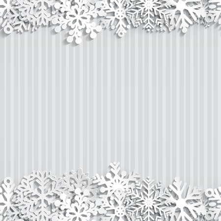 Christmas background of paper snowflakes with shadows Vector