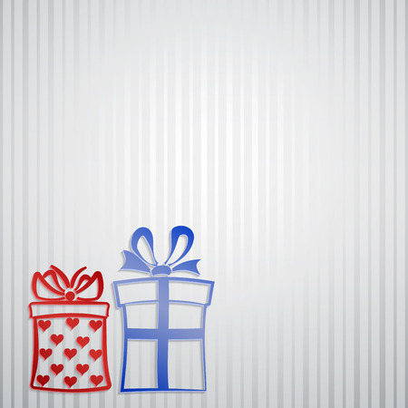 Background with strips and two gift boxes Vector