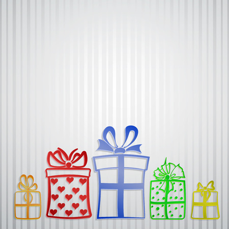Background with strips and five different gift boxes Vector