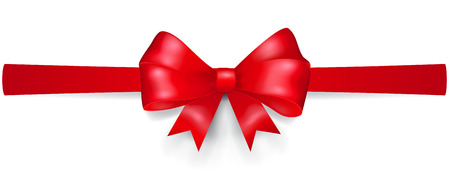 horizontally: Bow made of red ribbon, located horizontally, with shadow