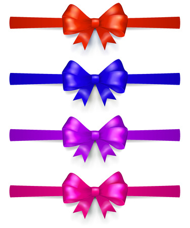 horizontally: Set of multicolored bows made of ribbon, located horizontally, with shadows