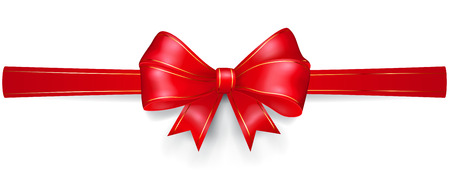 horizontally: Bow made of red ribbon with gold strips, located horizontally, with shadow