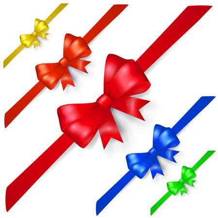 Set of multicolored bows made of ribbon, located diagonally, with shadows Ilustração
