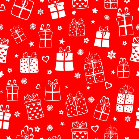 Seamless pattern of gift boxes, flowers and hearts, white on red