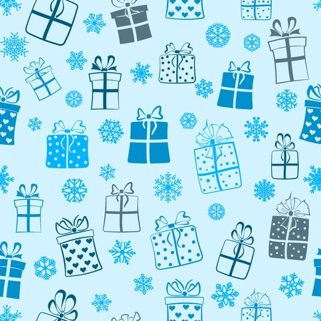 Seamless pattern of gift boxes and snowflakes, blue on light blue Vector