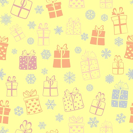 Seamless pattern of gift boxes and snowflakes, multicolored on yellow Vector