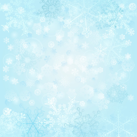 light blue: Christmas background of snowflakes, in light blue colors