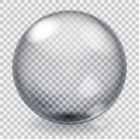 Transparante glazen bol met krassen, ruwheid, glans en schaduw Stock Illustratie