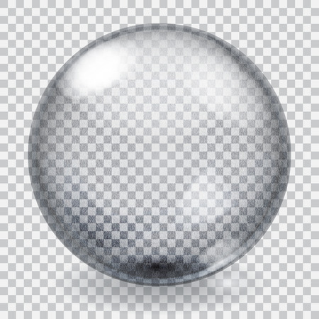 Transparent glass sphere with scratches, roughness, glares and shadow