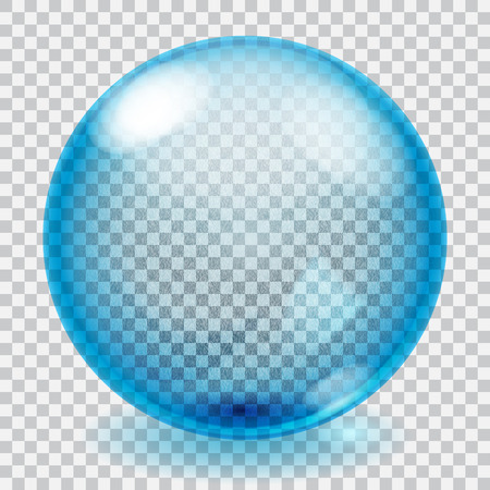 Transparent blue glass sphere with scratches, roughness, glares and shadow